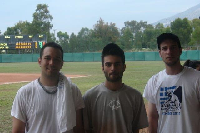 WestConn graduate Angelo Tsingerliotis, center, seen here with his Greek National Team teammates in Greece in 2012, is awaiting an invitation back to the team for the 2014 European Championship.