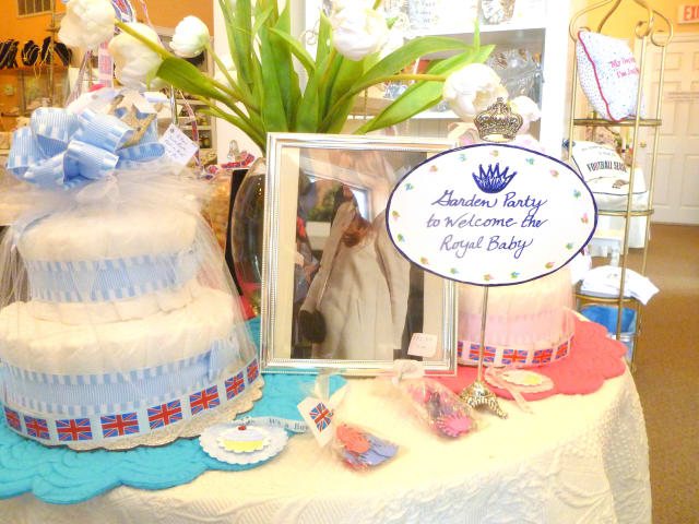 Goldenberry in New Canaan, which specializes in items from the British Isles, has a cake and flowers out for the birth of the new royal baby, who is third in line to the throne.