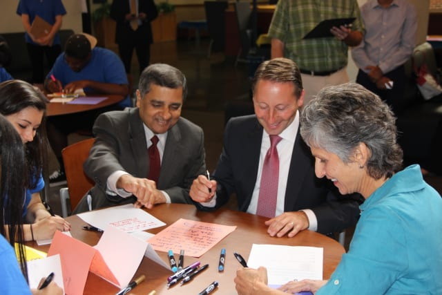 County Executive Robert Astorino and others wrote thank you notes to soldiers and police officers at Pace University.