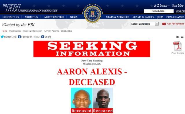 The FBI is seeking information about alleged U.S. Navy Yard gunman Aaron Alexis.