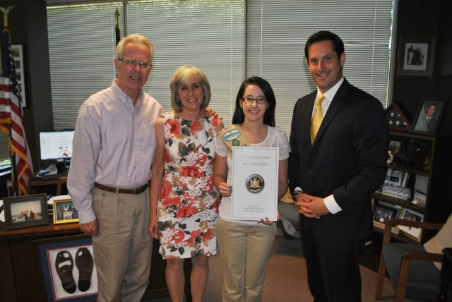Yorktown Girl Scout Kristen Anderson recently received a proclamation from state Sen. Greg Ball for Anderson's work on her Gold Award project.