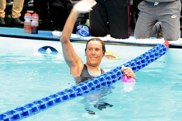 Diana Nyad recently finished a 48-hour swim marathon to help Hurricane Sandy victims.
