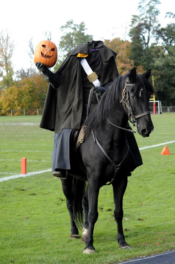 The Horseman mascot riding onto the field, with pumpkin in full view, is a tradition at Sleepy Hollow.