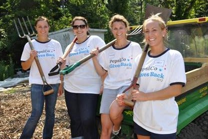 Pictured volunteering last year at Guiding Eyes for the Blind in Yorktown are employees from PepsiCo's Somers office: (left to right) Kristen Buonassisi, Melissa Craig, Jeanine Breger, and Carly Kinkler.