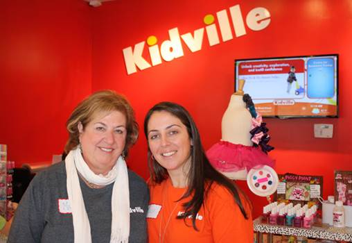 "Diana Mann (right), ""Mayor"" of Kidville Mount Kisco with her mom Marcia Schenker (left) at Kidville's grand opening. Schenker is the early childhood development manager of Kidville Mount Kisco."