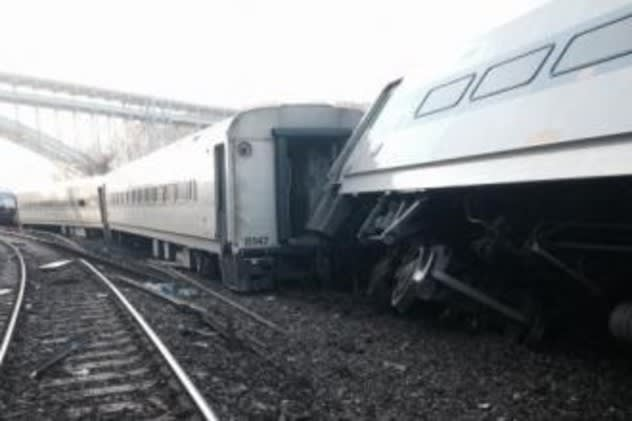 The Metro-North train that went off the rails in the Bronx Sunday was traveling at a speed of 82 mph through a 30 mph curve.