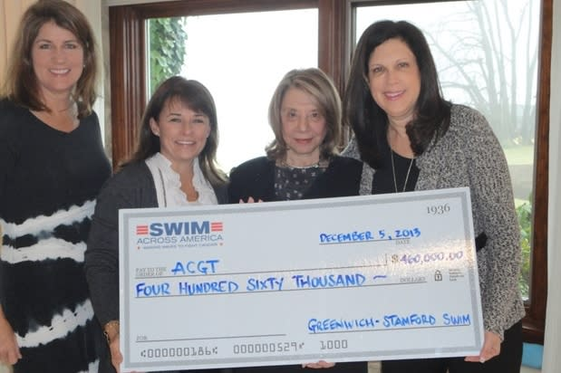 From left, Swim Across America's Jacqué Lang and Kerry Anderson, ACGT President and Co-Founder Barbara Netter, and ACGT Executive Director Margaret Cianci.