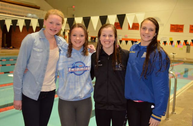 The Ridgefield Aquatic Club recently set a state record at the MIT Invitational. The team of Marcie Maguire, Lindsey Gordon, Paige Bernhardt and Isabelle Seward set the record.
