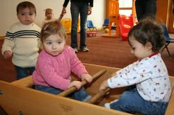 """A """"Discussion and Play"""" group for moms and toddlers up to 24 months meets at the Temple Sholom."""