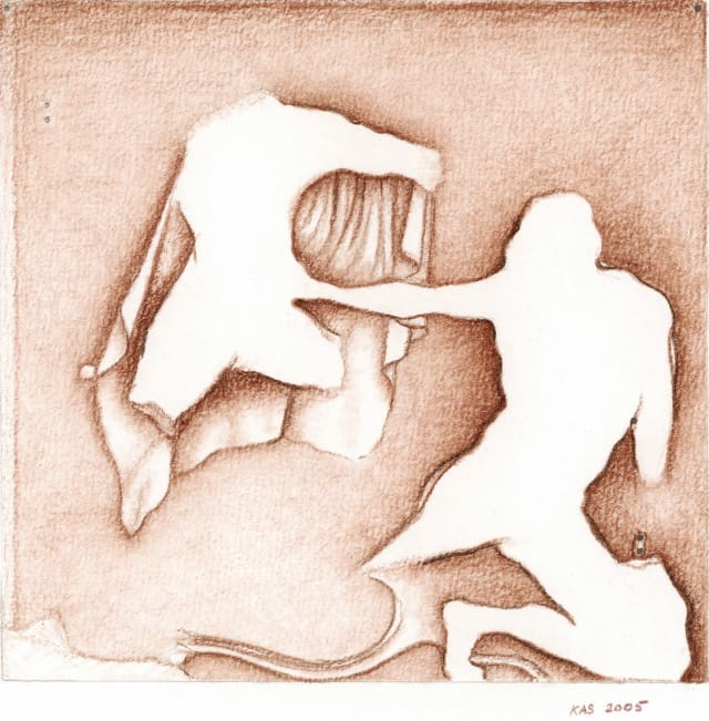 """Hermes attacks a collapsing giant,"" 8 9/16 x 10 15/16 inches, brown pastel on paper, K.A. Schwab, 2005"