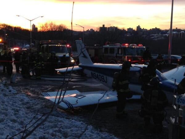 A photo of South Salem resident Michael Schwartz's plane after an emergency landing on the Major Deegan Expressway.