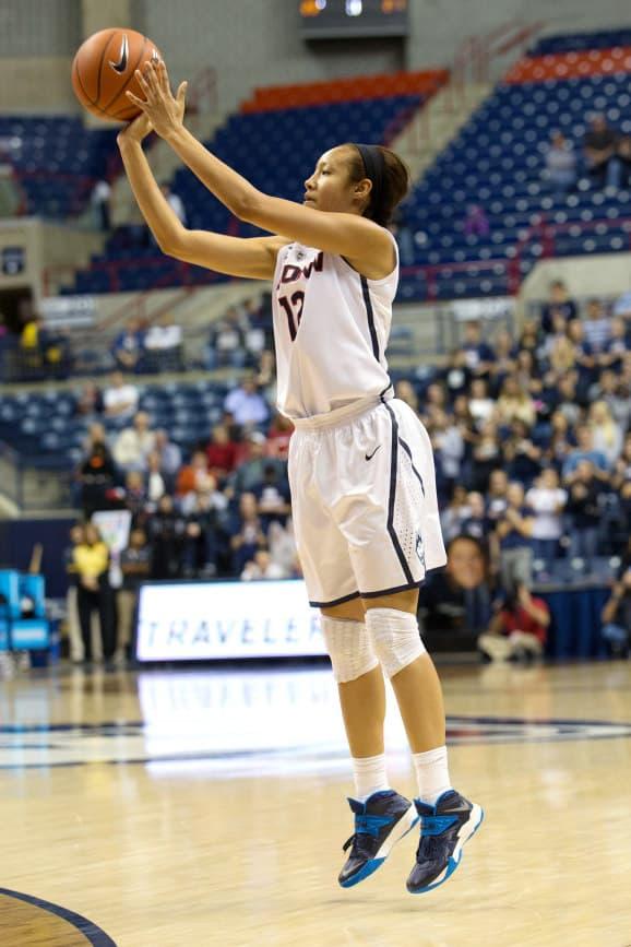 Ossining's Saniya Chong plays for the UConn women's basketball team Saturday in Bridgeport, Conn.