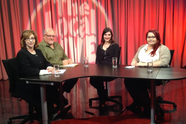 Daily Voice reporter Suzanne Samin, far right, will appear on Larchmont-Mamaroneck Cable Television to discuss media and local issues.