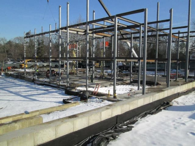 Construction of the new science wing of the Rye High School/Middle School is on schedule.