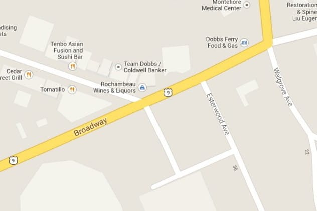 Photo map of downtown Dobbs Ferry where Cedar meets Broadway.