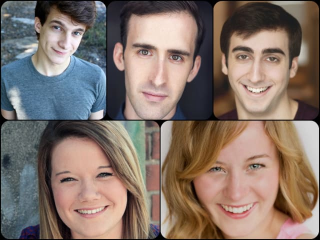 Top Row (L to R): Jimmy McDonald as Toad, Eric Williams as Frog, Daniel Tepper as Man 1. Bottom Row (L to R): Angela Jeffries as Woman 1, Olivia Howell as Woman 2