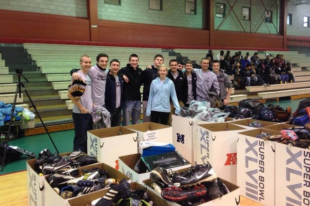 Let's Play It Forward donated 1,716 items of sports equipment at a Super Kids-Super Sharing Friday in Harlem.