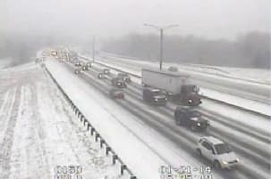 Tuesday's snowstorm and an accident at Exit 7 are slowing traffic on I-84 east in Danbury.