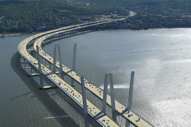 An artists rendering shows what the new, completed Tappan Zee Bridge replacement will look like.