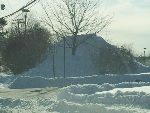 Piles of snow like this can be found in parking lots across Fairfield County after the snowstorm Tuesday night.
