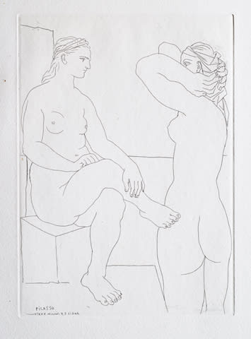"Pablo Picasso, ""Two Models Looking at Each Other,"" etching from the Vollard Suite, 1939"