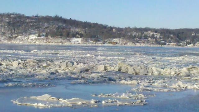 Ice just below the Tappan Zee Bridge in Dobbs Ferry