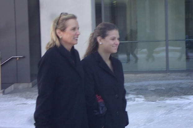 Kerry Kennedy (left) exits the courthouse in White Plains Thursday, where she is facing charges of driving under the influence of a sleeping pill.