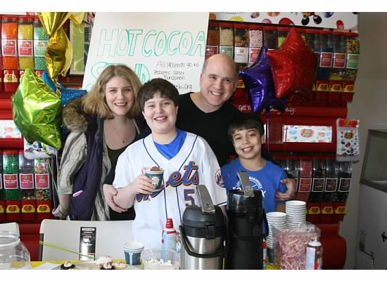 (Left to Right) Elisa, Evan, Ken and Joshua Greenberg at a previous hot chocolate fundraiser.