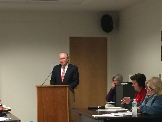Fairfield First Selectman Mike Tetreau delivers his 2014 State of the Town address to the Representative Town Meeting on Monday night.