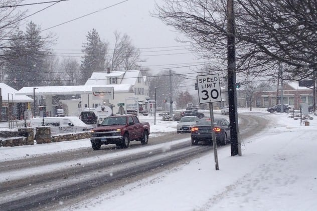 Roads across Fairfield County are covered with snow for the Wednesday morning commute.