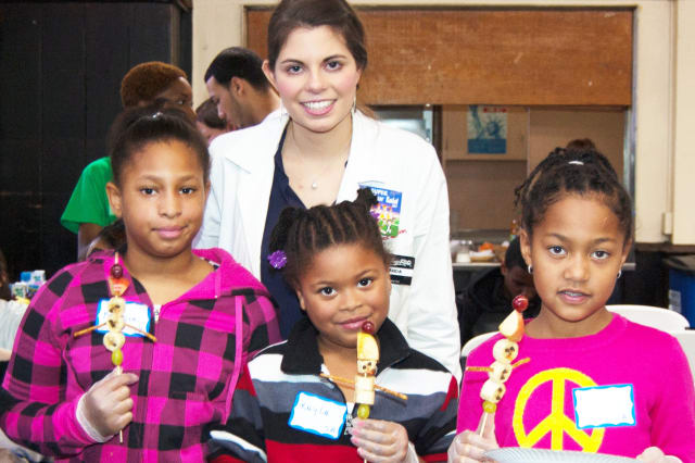 Volunteers helped kids learn about healthy eating and fitness at the YWCA of Yonkers as part of the MLK Day of Service.