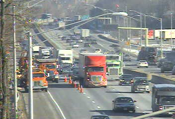 Road work blocks the right lane of southbound I-95 in Greenwich.