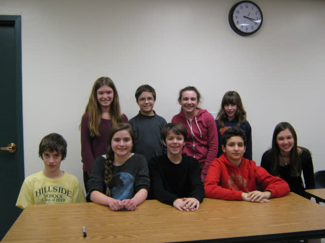 The nine Farragut Elementary School fianlists, from left and standing, are Jackie Collins, Thomas Silver, Hannah Laffer, and Kimberly Rosner; sitting are Sam Rabinowitz, Katelin Penner, Ethan Pochna, Ben Ratzkin and Molly Gouran.