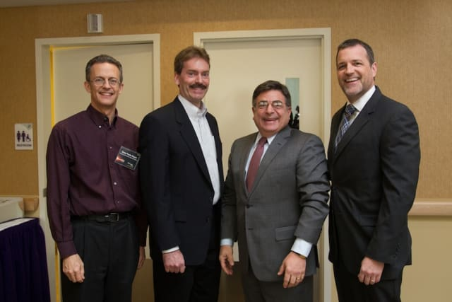 At Wartburg (from left) were LeadingAcademy coaches Gregory Poole-Dayan, Robert Mayer, Loren Raneletta and David Gentner, President & CEO of Wartburg.
