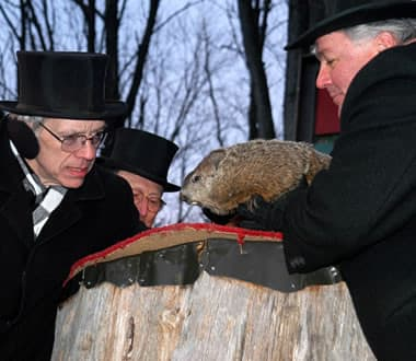 Pennsylvania's Punxsutawney Phil sees his shadow on Sunday, Groundhog Day, predicting six more weeks of winter.