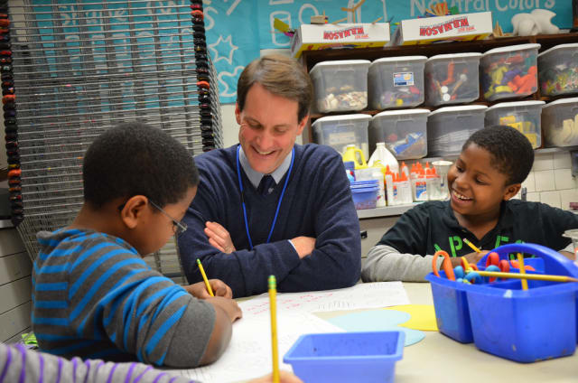 U.S. Rep. Jim Himes, who represents much of Fairfield County, visits with students at KT Murphy Elementary School in Stamford during last year's Valentines for Vets program.