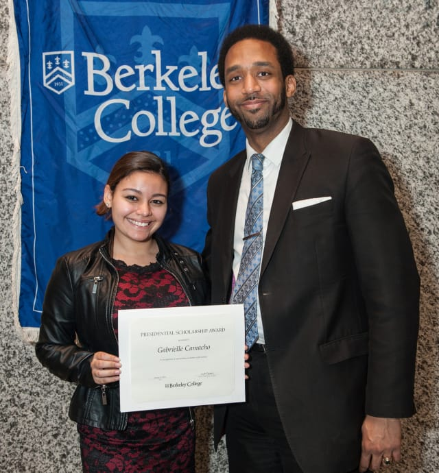 Gabrielle Camacho of Harrison receives a scholarship to Berkeley College.