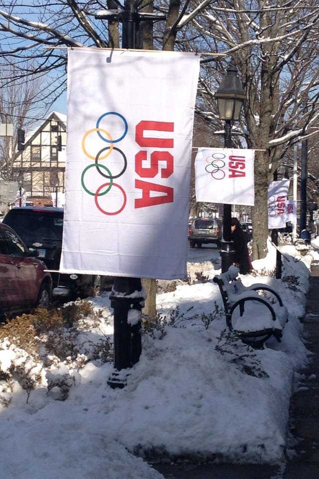 A banner in Ridgefield shows support for the United States teams as they get ready for the Winter Olympics. Ridgefield's Tucker West will compete in luge at the Games.