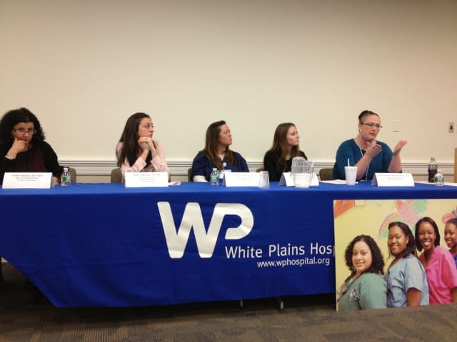 From left, Esther Krinsky, MSN, Ashley Liberatore, RN-BC, Denise Sullivan, RN, Kelly Longworth, RN-BC, Nancy Longworth, BSN, at the White Plains Hospital career day for prospective nurses.