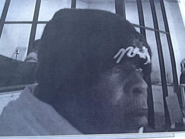 This is a photo from a surveillance video of the suspect in Tuesday's bank robbery.