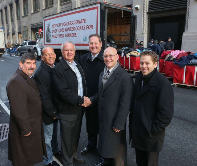 Tony Mazza and members of the Greater New York Automobile Dealers Association collected more than 4,000 winter coats for New York Cares.