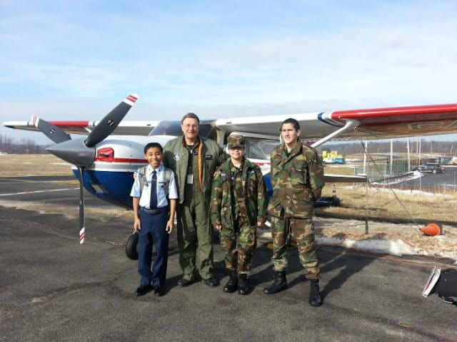 Cadets in the Civil Air Patrol were able to take flights during orientation.