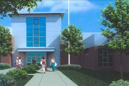An artists rendering shows what the refurbished entrance of Wright Tech in Stamford would look like.