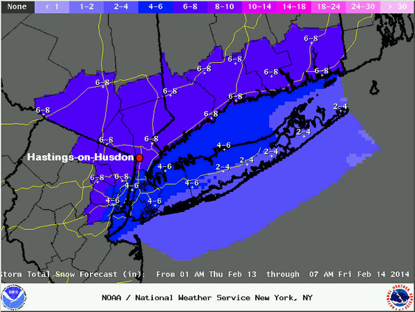 Expected snow falls accumulations in Westchester for Thursday into Friday.
