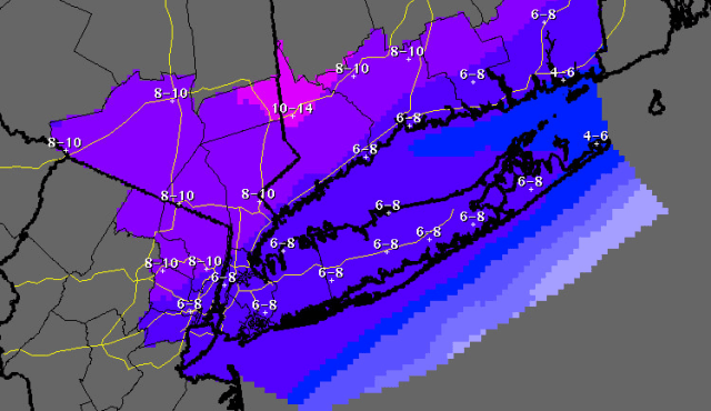 The latest snowfall projections by the National Weather Service through 7 a.m. on Friday, Feb. 14.