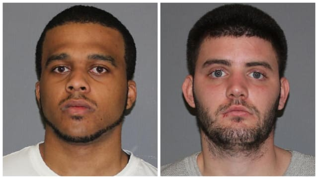 Daniel Hall (left) and William Kelly are charged with third-degree criminal sale of a controlled substance, a felony.