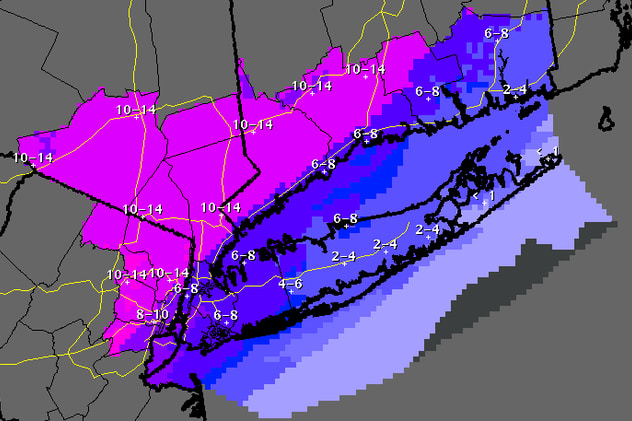 This is the updated projected snowfall totals through Friday, Feb. 14, at 7 a.m. for the Fairfield County area.