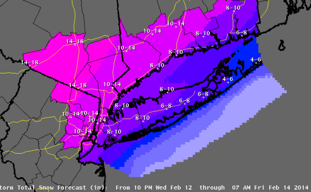 A total of 10 to 14 inches of snow is now expected to fall Thursday across all of Westchester County after the National Weather Service increased its forecast snow totals late Wednesday afternoon.