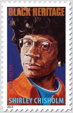 The Shirley Chisholm stamp that was unveiled in Mount Vernon.