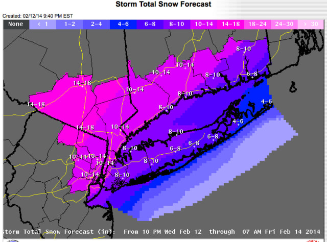 Projected snowfall totals released by the National Weather Service late Wednesday night.